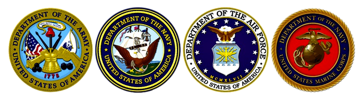 Army, Navy, Air Force, Marine Corps